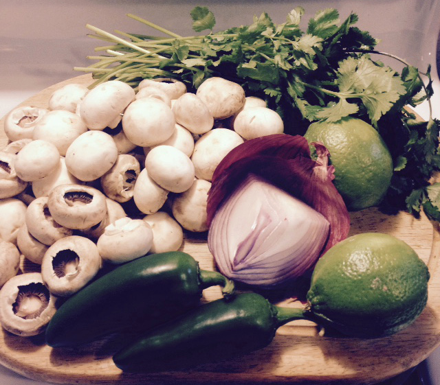 Ingredients for a Vegan Mushroom Salsa